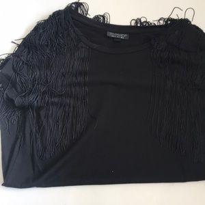 Topshop Fringe Sleeve Shoulder Tee Blouse